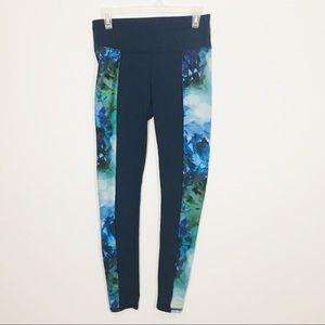 Athleta Full length Floral Blue Leggings SZ Small